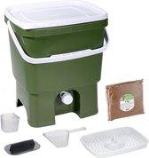 Skaza Bokashi Organko keukencompostbak van gerecycleerd plastic |16 L| Starter Setbvoor keukenafval en compostering | met EM zemelen 1 kg | Olijf groen
