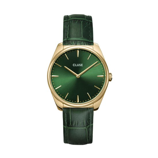 Cluse Féroce Leather Forest Green Dames Horloge - 36 mm