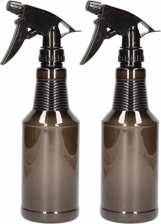 2x Waterverstuivers/spuitflessen 500 ml zwart - Plantenspuiten/schoonmaakspuiten