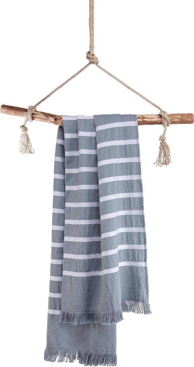 Walra Hamamdoek Fouta Sunny Stripes - Blauw - 100x180 cm