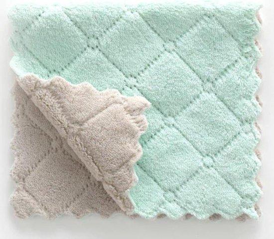 Vaatdoeken - 2 stuks - Vaatdoek - Vaatdoekjes - huishoudelijke schoonmaakmiddelen - Keuken gadgets - Keuken accessoires - Schoonmaken - Zacht materiaal - Groen - Grijs - Meerdere kleuren - Doeken - Herbruikbaar - Microvezel - Kleurig - Theedoek