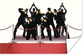 Een illustratie van de fotografen aan de rode loper poster 120x80 cm - Foto print op Poster (wanddecoratie woonkamer / slaapkamer)