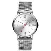 Zinzi Horloge Retro + Gratis Armband ZIW502M - Zilverkleurig - Ø 34 mm