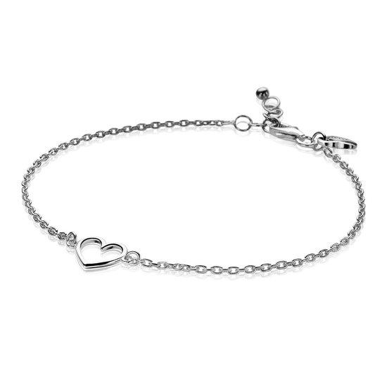 Zinzi Armband zilver 18,5-20,5 cm Hart ZIA1420