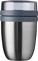 Mepal – Isoleer lunchpot Ellipse – houdt je eten 6-8 uur warm en 12 uur koud – Natural brushed – 2 compartimenten – Soep beker to go – Yoghurt beker muesli