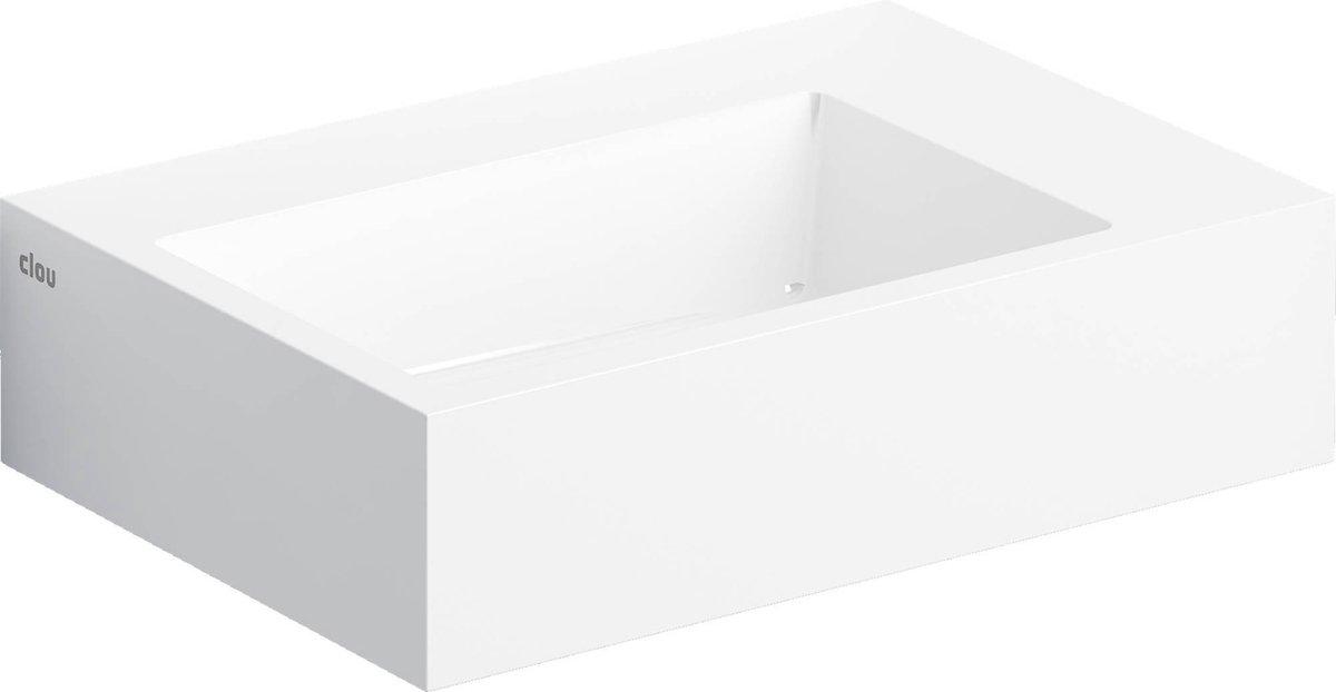 Fontein Clou Flush 2 Plus Rechthoek 42.5x29x10.5cm Mineraalmarmer Wit 1 Voorbewerkte Kraangat