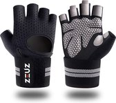 ZEUZ® Sport & Fitness Handschoenen Heren & Dames – Krachttraining – Crossfit – Grijs & Zwart – Maat L