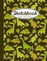 Sketchbook For Artists: A Personalized Large Blank Dinosaur Artist Sketchbook for Sketching, Drawing and Creative Doodling for Kids, Girls and