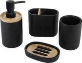 Decopatent® Badkamerset 4 Delig - Toiletaccessoires Set - Kunsstof - Zeeppompje - Tandenborstelhouder - Zeepschaal - Beker - Zwart