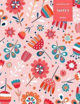 Cornell System Notes 110 Pages: Vintage Floral Notebook for Professionals and Students, Teachers and Writers - Nordic Bright Peach and Orange Floral P