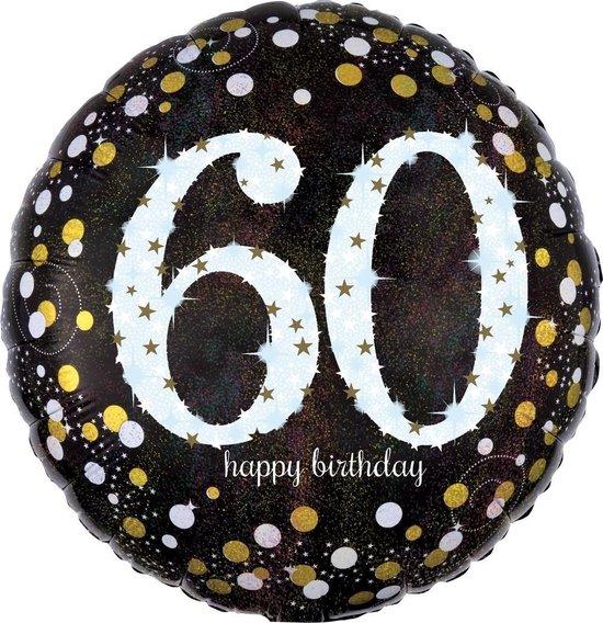 Glanzende Happy Birthday 60 jaar ballon - Feestdecoratievoorwerp