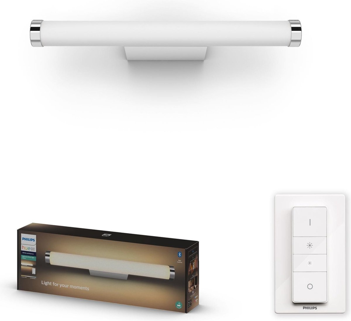 Philips Hue Adore Badkamer Wandlamp - White Ambiance - Geïntegreerd LED - Wit - 13W - Bluetooth - incl. Dimmer Switch