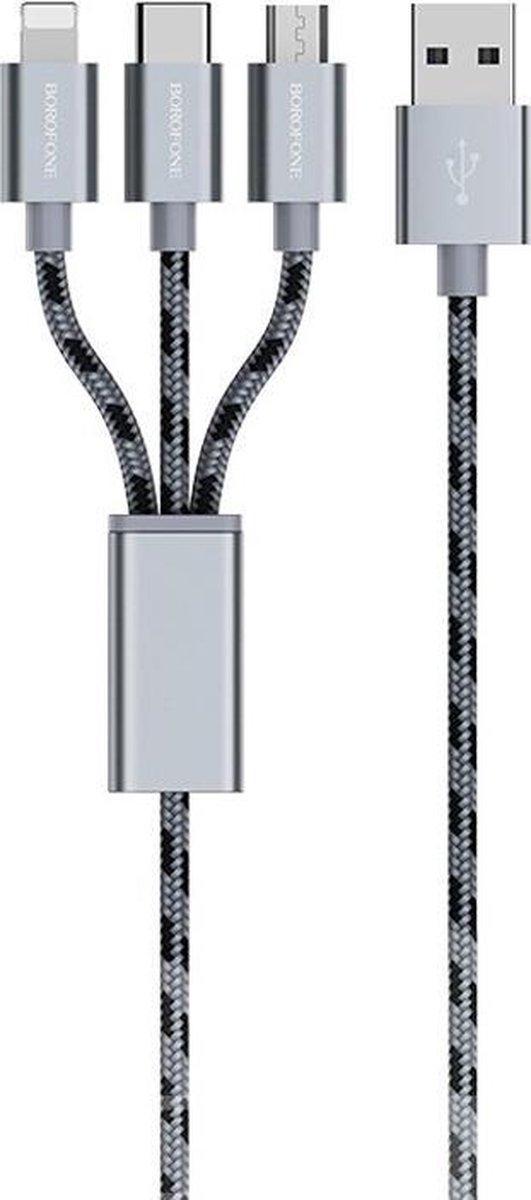 Let op type!! Borofone BX24 ring huidige USB-C/type-C + 8 pin + micro USB naar USB Weave opladen data kabel voor iPhone iPad Galaxy Huawei Xiaomi HTC Sony en andere smartphones (grijs)