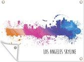 Kleurrijke illustratie van de skyline van Los Angeles tuinposter 160x120 cm - Tuindoek / Buitencanvas / Schilderijen voor buiten (tuin decoratie) XXL / Groot formaat!