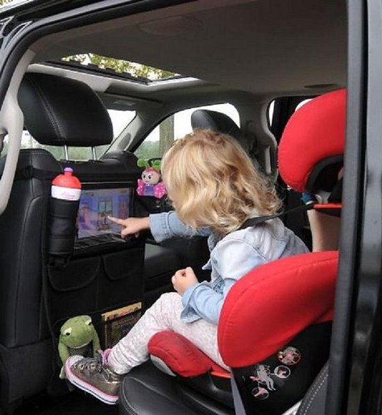 A3 Baby & Kids Autostoel organizer met tablet houder - Zwart