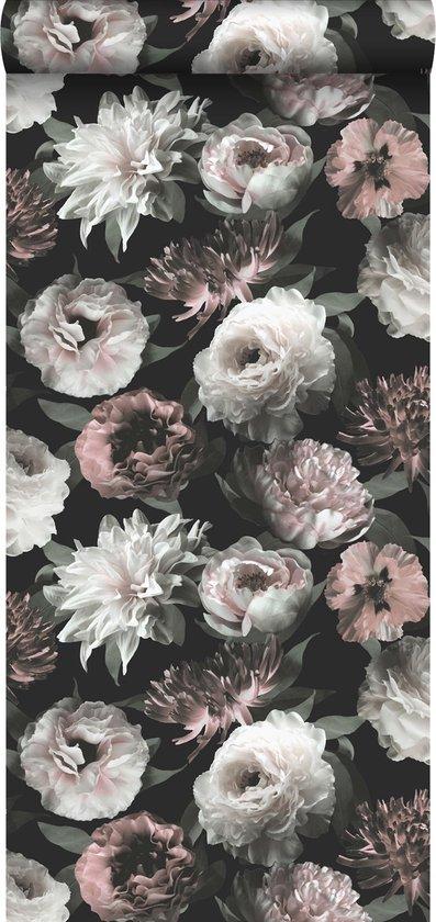 ESTAhome behangpapier bloemen zwart, wit en zacht roze - 139169