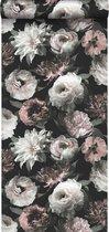 ESTAhome behang bloemen zwart, wit en zacht roze - 139169