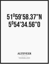Poster/kaart ALTEVEER met coördinaten