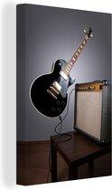 Een zwevende elektrische gitaar Canvas 20x30 cm - klein - Foto print op Canvas schilderij (Wanddecoratie woonkamer / slaapkamer)