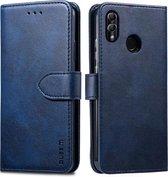Voor Huawei P30 Lite GUSSIM zakelijke stijl horizontale flip lederen case met houder & kaartsleuven & portemonnee (blauw)