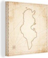 Een illustratie van Tunesië op een antieke kaart 90x90 cm - Foto print op Canvas schilderij (Wanddecoratie woonkamer / slaapkamer)