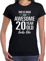 Awesome 20 year - geweldig 20 jaar cadeau t-shirt zwart dames -  Verjaardag cadeau L