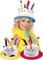 St. Hoed Cream Cake Happy Birthday 3 Kleuren Ass.