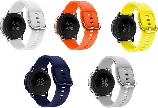 5-pack Samsung Galaxy Watch Active 20mm siliconen horloge smartwatch bandjes geel, wit, grijs, donkerblauw, oranje  plastic