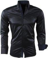 Montazinni - Heren Overhemd - Gestippelde Kraag - Gestreept - Kreuk en Strijkvrij - Slim Fit