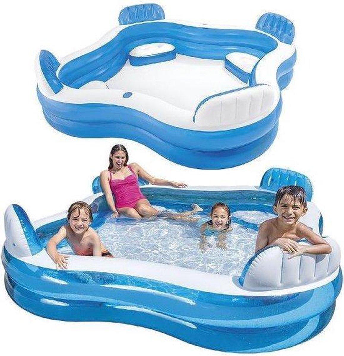 Family Lounge zwembad - 229 x 229 x 66 cm - Opblaasbaar Familie Zwembad met luxe Zitjes