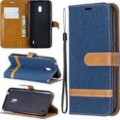 Kleuraanpassing Denim Texture Horizontale Flip Leather Case met houder & kaartsleuven & Wallet & Lanyard voor Nokia 2.2 (donkerblauw)