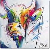 Schilderij - Glasprint Kleurrijke Koe