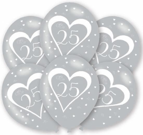 Ballonnen zilver 25 jaar 6x stuks - Zilveren bruiloft feestartikelen versiering