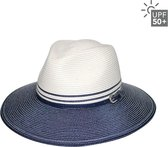 Strandhoed Brede rand 7,5cm - Dames Bella Fedora - UPF50+ UV bescherming - Maat: 58cm - Kleur: Ivory/Navy