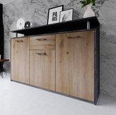 AZ-Home - Dressoir Bambo 140 cm - Donkergrijs - Eiken - Commode - Kast