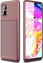 Samsung Galaxy A71 - Hoesje TPU Flexibele beschermhoes - Carbon Fibre brons