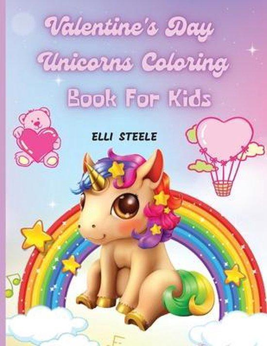 Valentine's Day Unicorns Coloring Book For Kids