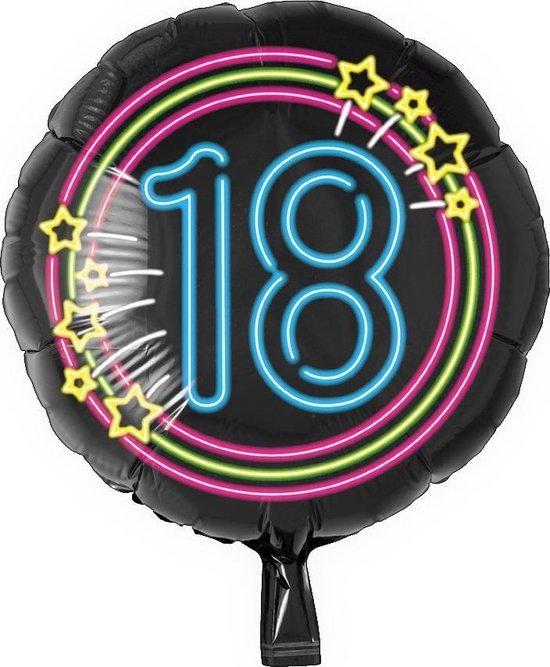 Helium Ballon 18 Jaar Neon 46cm leeg