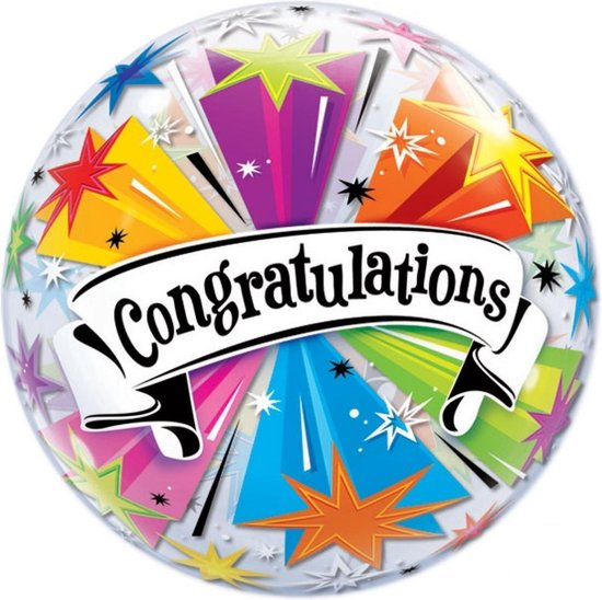 Folieballon - Congratulations - Sterren - Bubble - 56cm - Zonder vulling