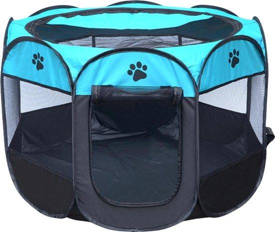 Puppyren / hondenren / puppytent draagbaar Maat L - Blauw / zwart - Afmeting: 91 x 91 x 58 CM