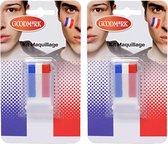 2x Schmink stick rood wit blauw - Koningsdag/ Holland schmink