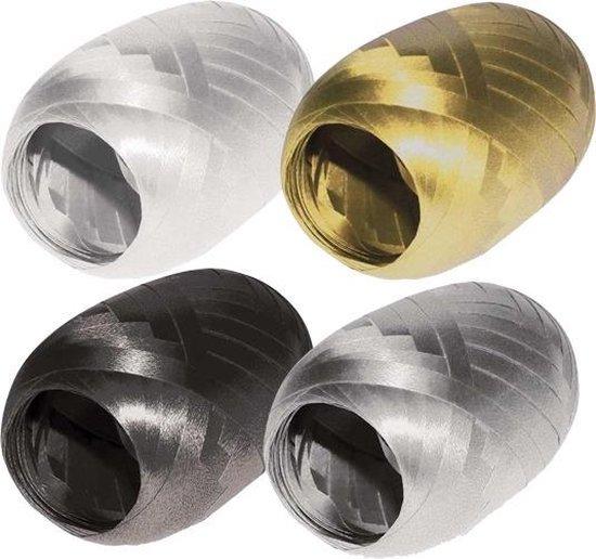 Lint goud, zilver, zwart en wit set - 20 meter per rol