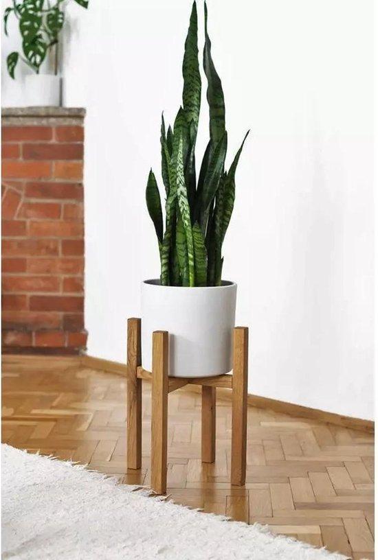 Plantenstandaard | Diameter tot 24 cm | Plantenkruk | Bloempotten voor binnen | Plantentafeltje voor binnen | Bloempot standaard | Plantenstandaard binnen | Hout | Licht bruin