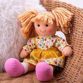 Stoffen Pop Daisy - BIGJIGS - Meisjespop met Gele Jurk - 28 cm - Geel