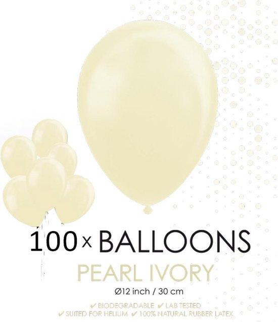 100 Parel ivoor ballonnen 30 cm.
