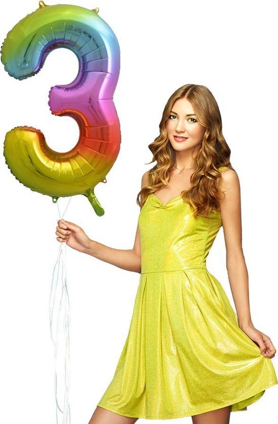 Folie Ballon Cijfer 3 Regenboog XL 86cm leeg