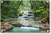 Waterval in het bos | Tuinposter 120x80 | Tuin decoratie | Tuinposters buiten | Tuinschilderij | Landschap | Natuur