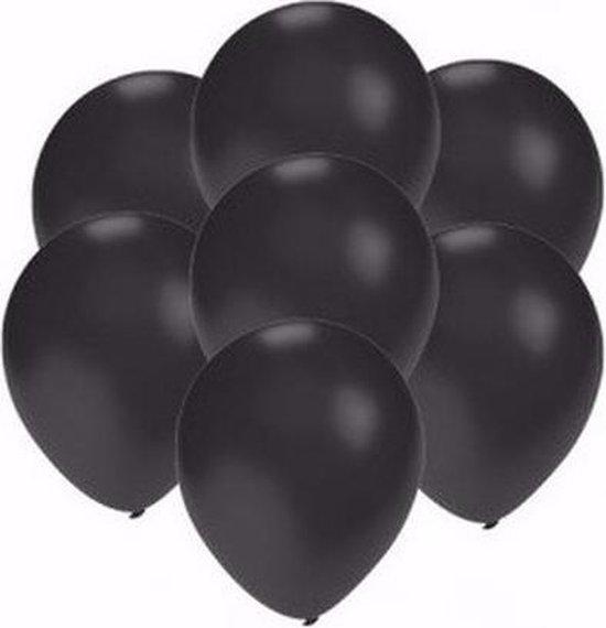 50x Voordelige metallic zwarte ballonnen klein van 13 cm - Feestartikelen en zwarte versieringen