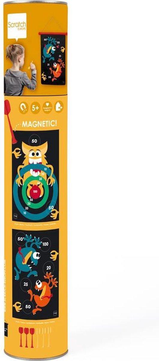 Scratch Active Play: MAGNETISCHE DARTS Crazy Monsters 36x55cm, 2-zijdig bedrukt, in tube, 5+