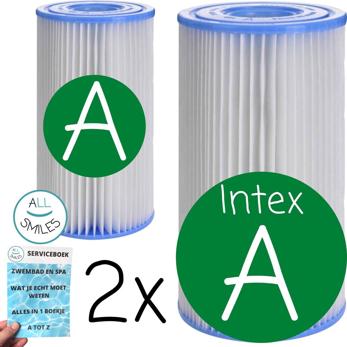 2 x Type A Intex Zwembadfilter voor Zwembad Onderhoud - Filtercartridge A - Filter A + ✅ All Smiles Serviceboek